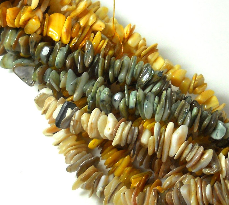 Over 1 Pound Mixed Mother of Pearl Shell Medium Chip Beads Randum Mix 5 Strands 30 Inch or Longer