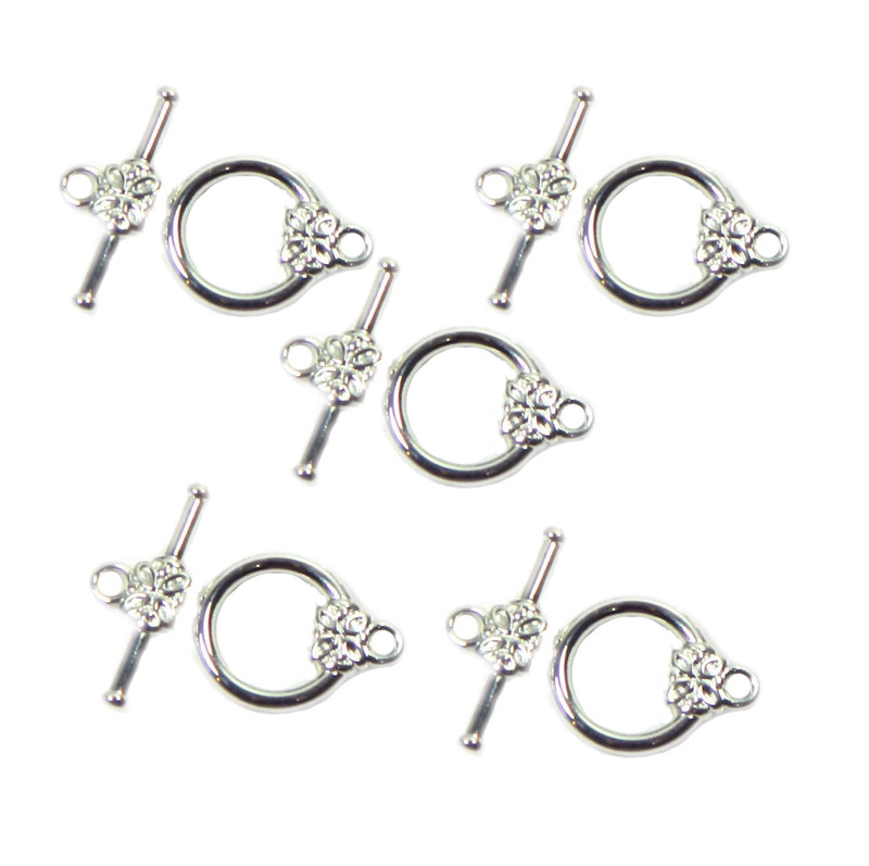 19 Silver Plated Brass Jewelry Toggle Clasps 14mm Flower Design Findings 5735FY