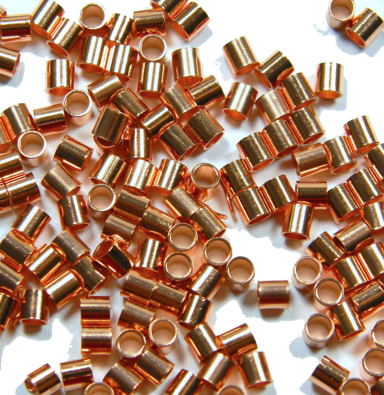 200 Crimp Bead Copper 3x3mm Seamless Tube 2 1mm Inside Diameter 2964FD