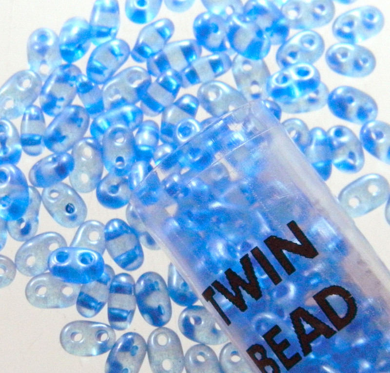 Blue Pearl 2.5x5mm 2 Hole Twin Beads Czech Glass Seed Beads 23 Gram Tube