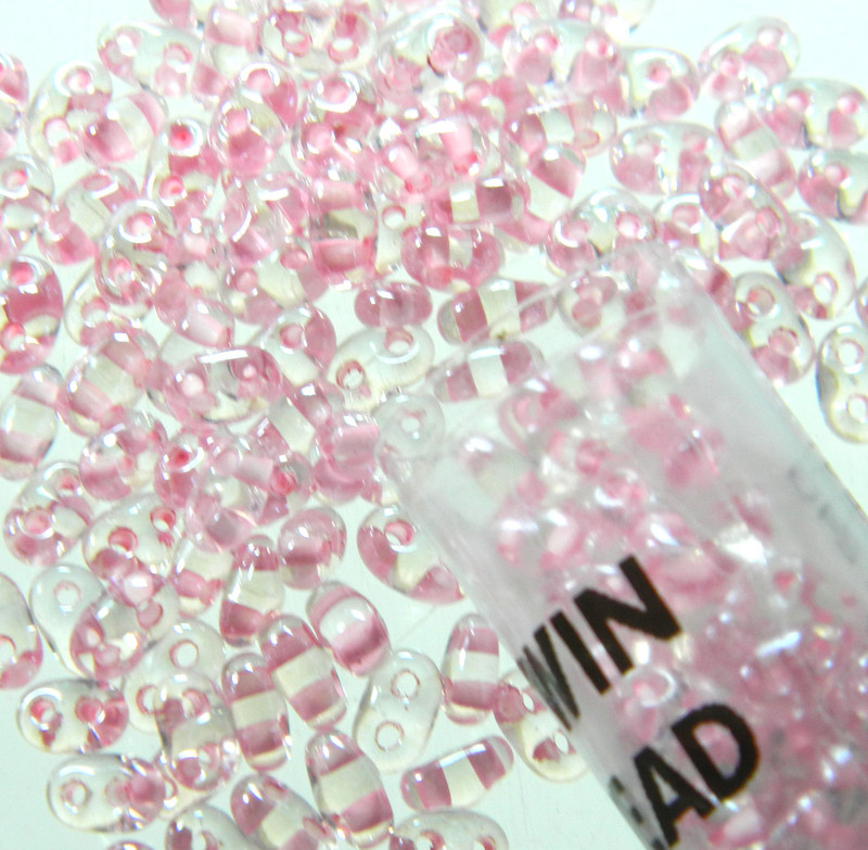 Color Lined Pink 2.5x5mm 2 Hole Twin Beads Czech Glass Seed Beads 23 Gram Tube