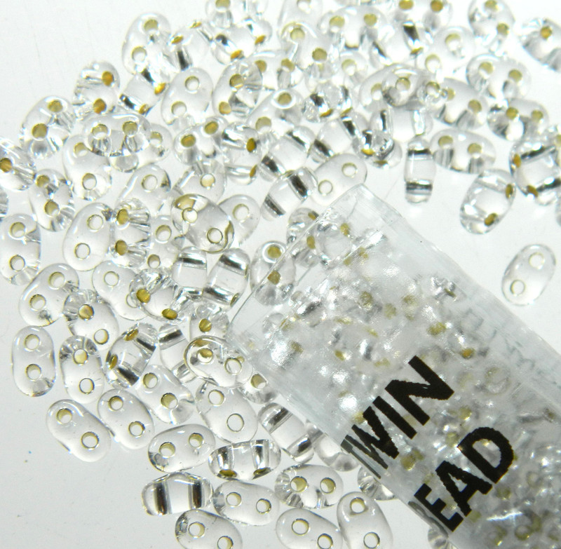 Crystal Clear Silver Lined 2.5x5mm 2 Hole Twin Beads Czech Glass Seed Beads 23 Gram Tube