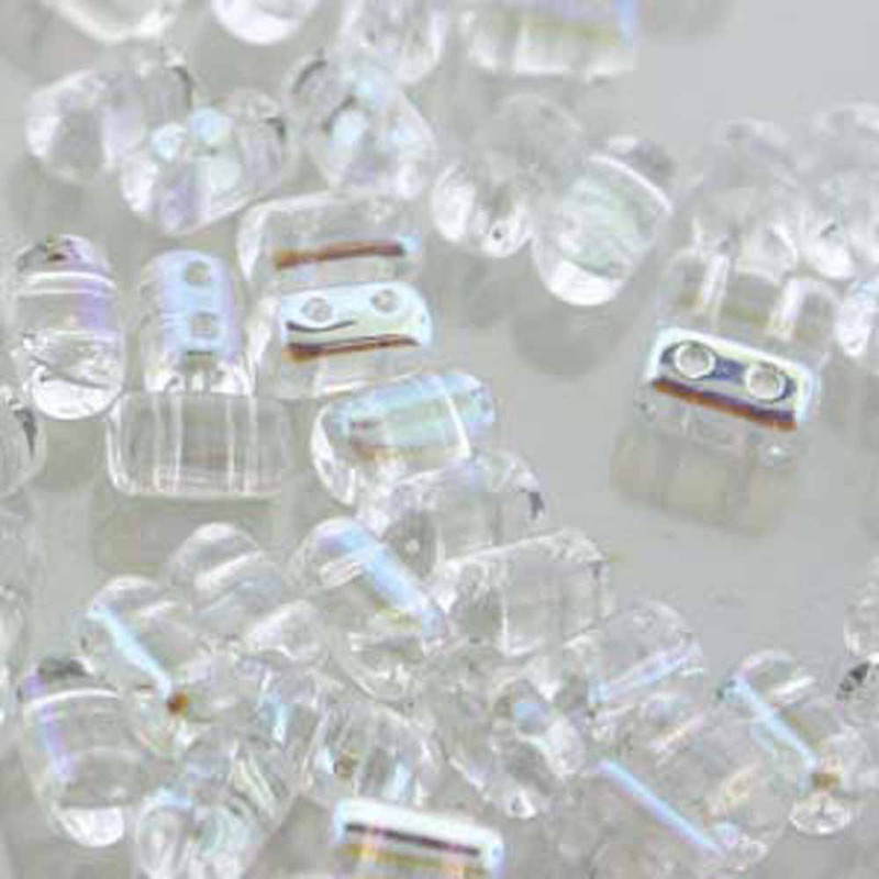 Rulla CRYSTAL AB Czech Glass 2-hole Seed Beads 3x5mm 22 Grams