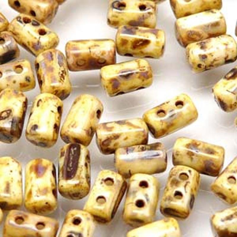 Rulla CHALK TRAVERTINE DARK Czech Glass 2-hole Seed Beads 3x5mm 22 Grams