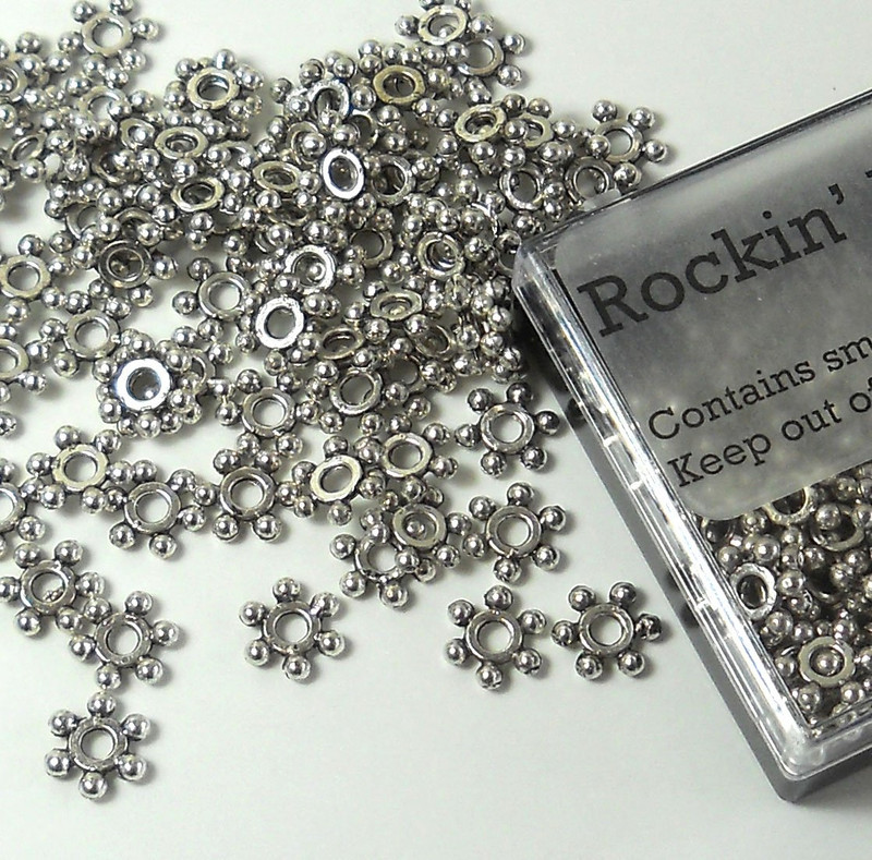 100 7x2mm 2.2mm Hole Rondelle Barrel Beads Antiqued Silver Cast Pewter Metal Beads
