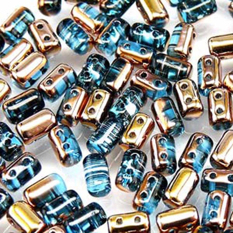 Rulla AQUAMARINE CAPRI GOLD Czech Glass Seed Beads 3x5mm 20 Gram Tube (2 Hole)