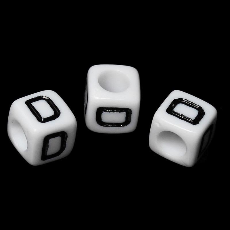 "100 Letter ""D"" Black on White Acrylic Alphabet Cube Spacer Beads 6mm Approx 1/4 Inch RB58824"