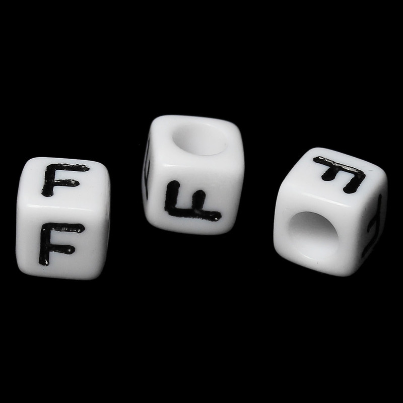 "100 Letter ""F"" Black on White Acrylic Alphabet Cube Spacer Beads 6mm Approx 1/4 Inch RB58826"