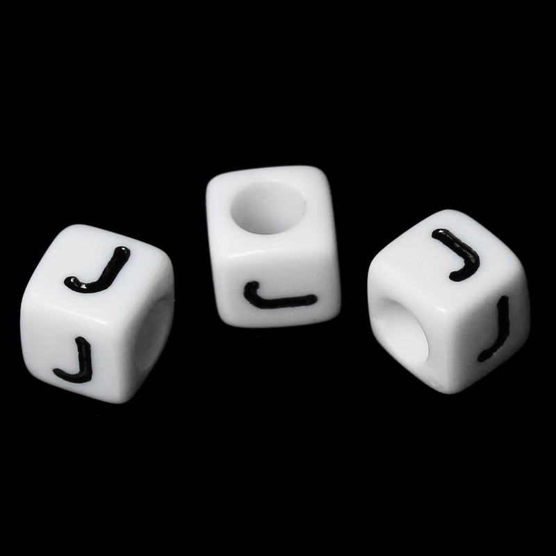 "100 Letter ""J"" Black on White Acrylic Alphabet Cube Spacer Beads 6mm Approx 1/4 Inch RB58830"