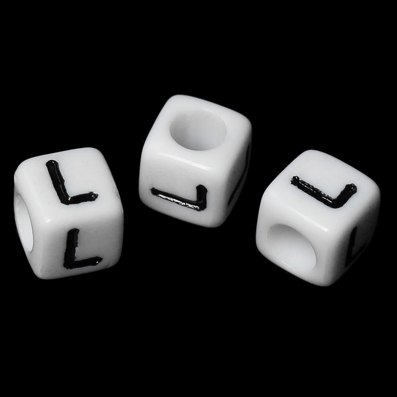 "100 Letter ""L"" Black on White Acrylic Alphabet Cube Spacer Beads 6mm Approx 1/4 Inch RB58832"