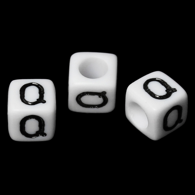 "100 Letter ""Q"" Black on White Acrylic Alphabet Cube Spacer Beads 6mm Approx 1/4 Inch RB58837"