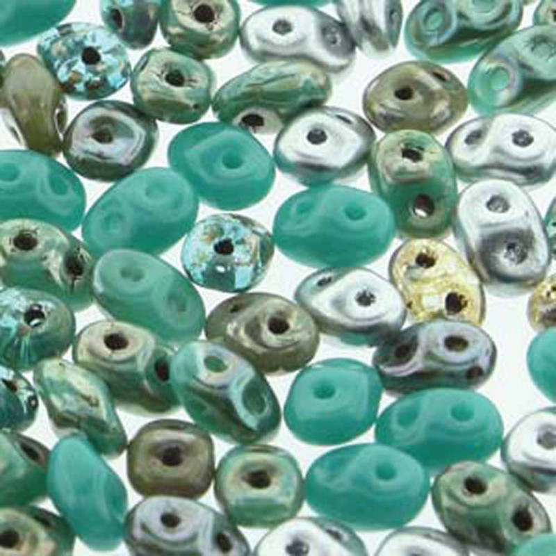 Frozen Mix SuperDuo Two-Hole Seed Crystal Beads 5.5x2.5mm 22gram