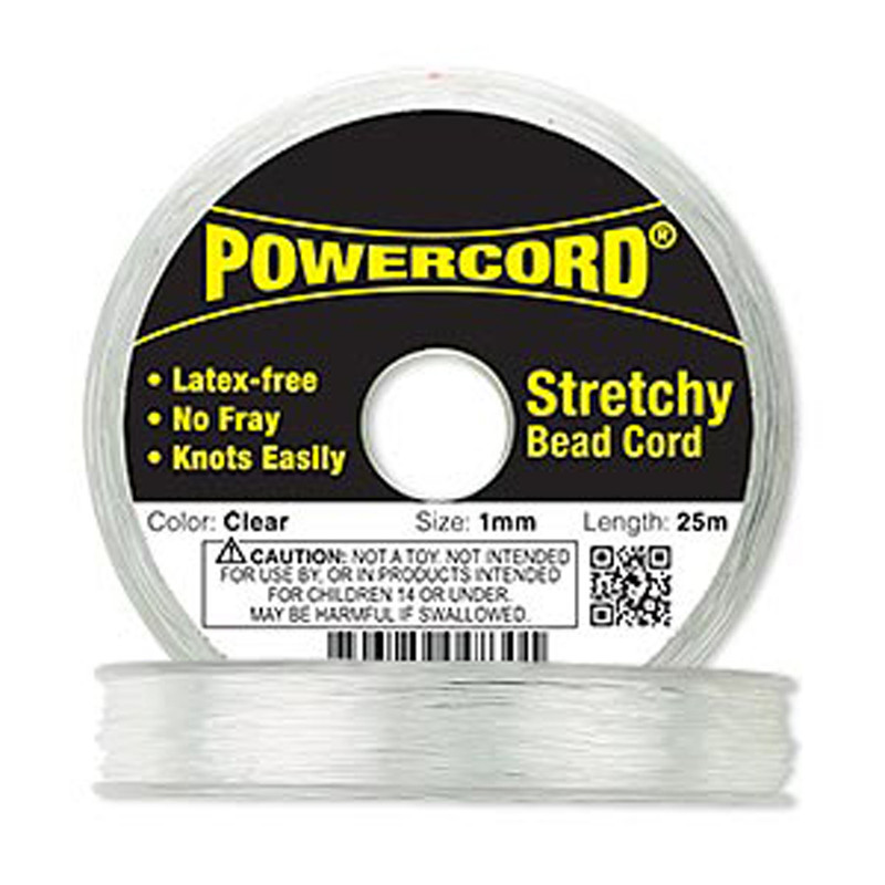 Powercord® Elastic Streatch Cord Clear 1mm 14-lb Test 25-Meter Latex-Free 1708BS