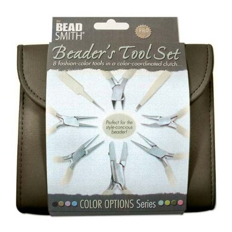 Beadsmith 8 Fashion Brown Color Tool Set for Making Jewelry+Clutch Carry Case