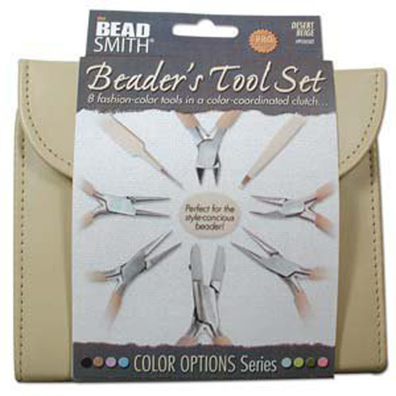 Beadsmith 8 Fashion Tan Color Tool Set for Making Jewelry Clutch Carry Case PLFAS02