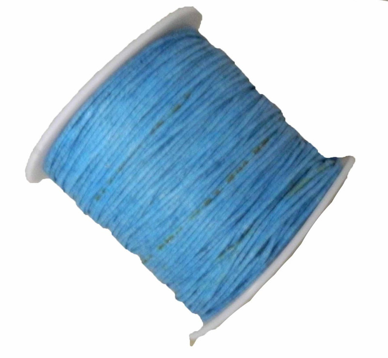 Copy of 1mm Waxed Cotton Jewelry Macrame Craft Cord 80 Yards Wolven Round Ligh Blue