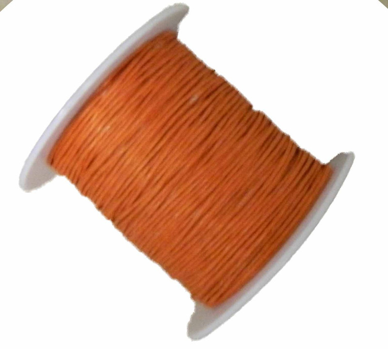 1mm Waxed Cotton Jewelry Macrame Craft Cord 80 Yards Wolven Round Orange