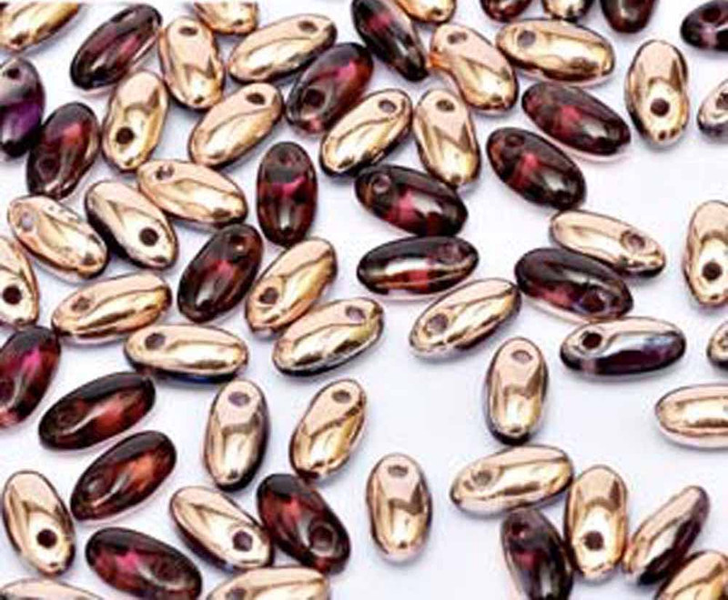 Ameythist Capri Gold 2.5x6mm Rizo Beads Czech Glass Seed Beads 22 Gram Tube