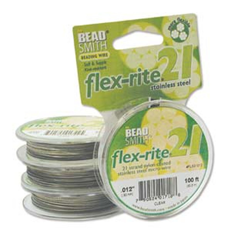 21 Strand Clear Coated Flex Rite Beading Stringing Wire .012 Inch 100""