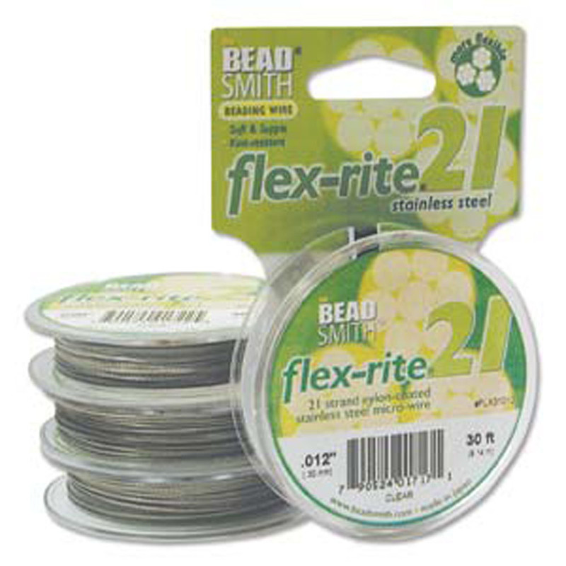 "21 Strand Clear Coated Flex Rite Beading Stringing Wire .012"" 30 Feet"