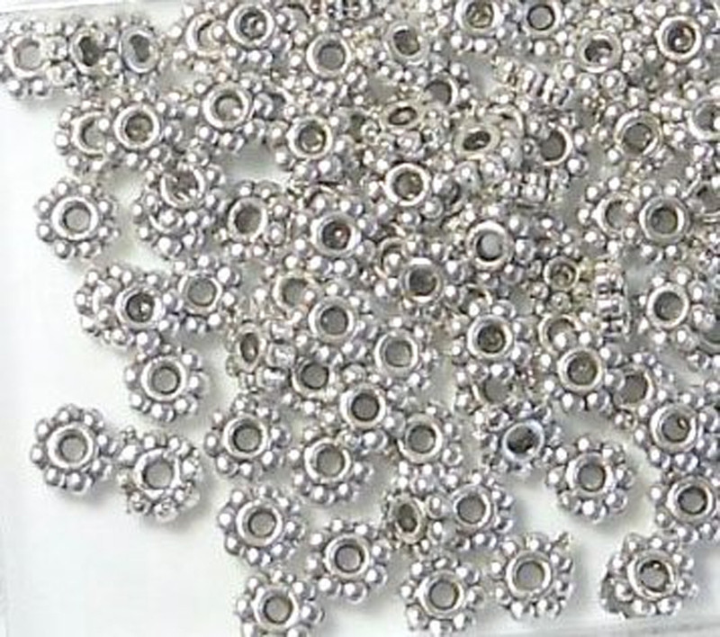 500 Antiqued Silver Plated Pewter Beads 5x2mm Rondelle Daisy 1.5mm Hole Z-G-1491904633