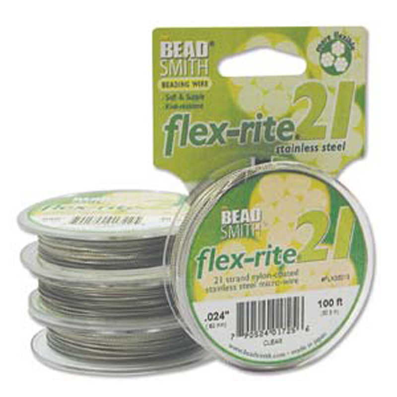 "21 Strand Clear Coated Flex Rite Beading Stringing Wire .024"" 100'"