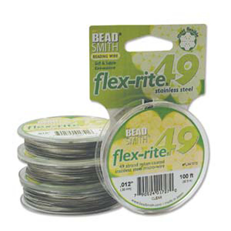 "49 Strand Flex Rite Beading Stringing Wire .012"" 100' Stainless Steel"