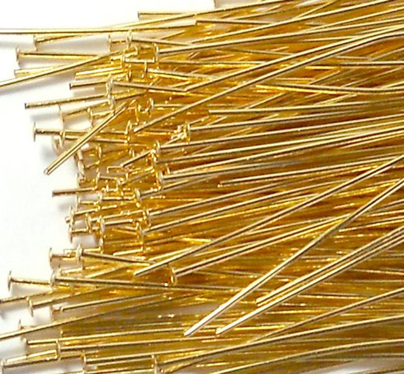 144 Head Pins 029dia X 2 5 Inch Gold Plated St ard 21 Gauge Wire HDP02925GP