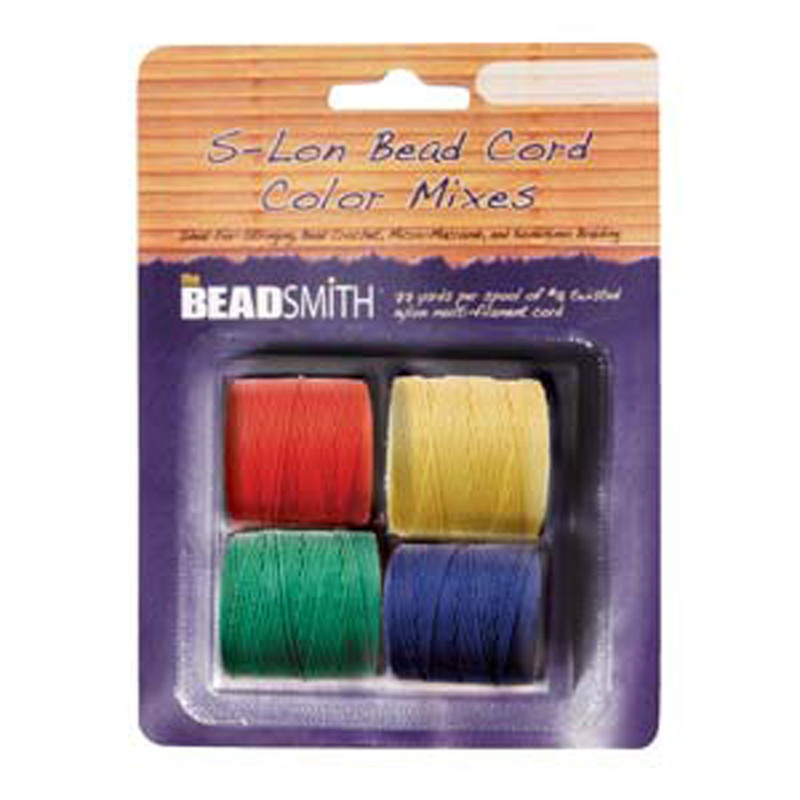 4 Spools Super-lon #18 Nylon Beading Jewelry Stringing Cord S-lon Primary Mix