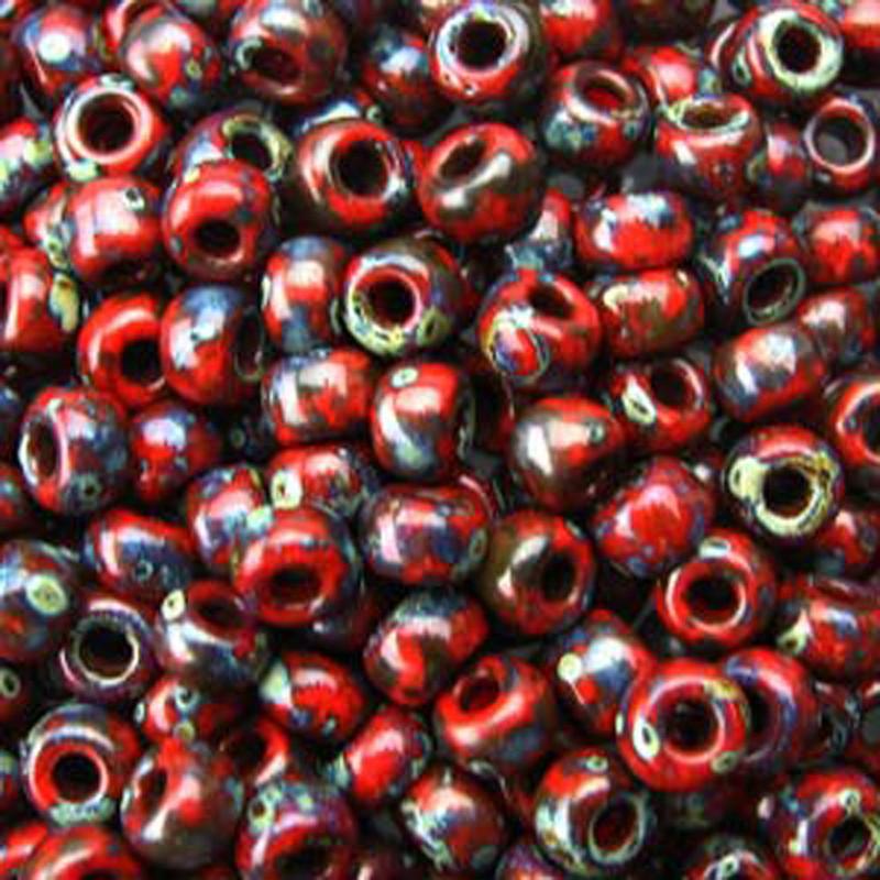 Picasso Red Garnet Matte 20 Grams Miyuki 6/0 Seed Bead 20 Gram