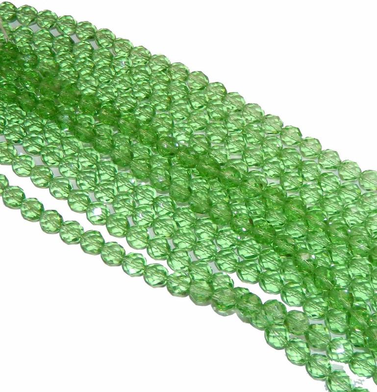 24 Firepolish Faceted Czech Glass Beads 8mm Peridot