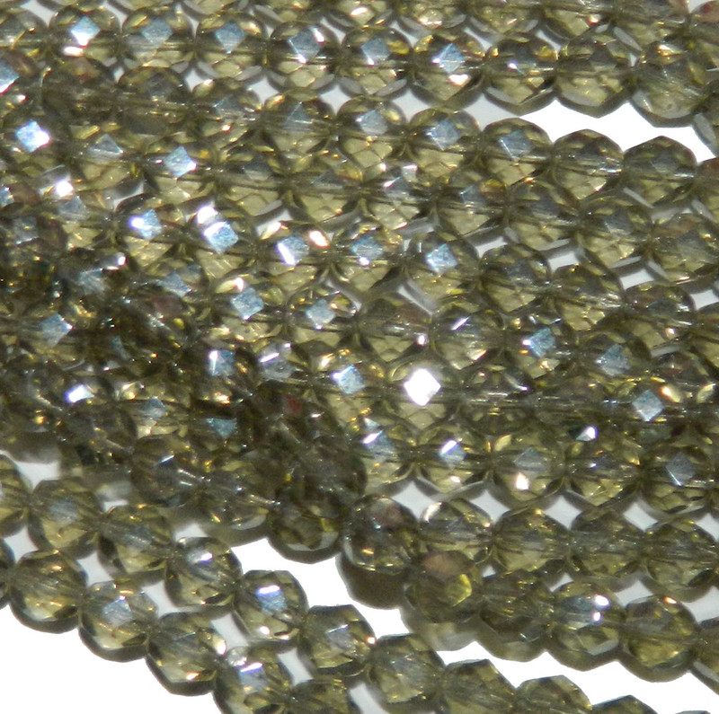 24 Firepolish Faceted Czech Glass Beads 6mm  Luster Black Diamond