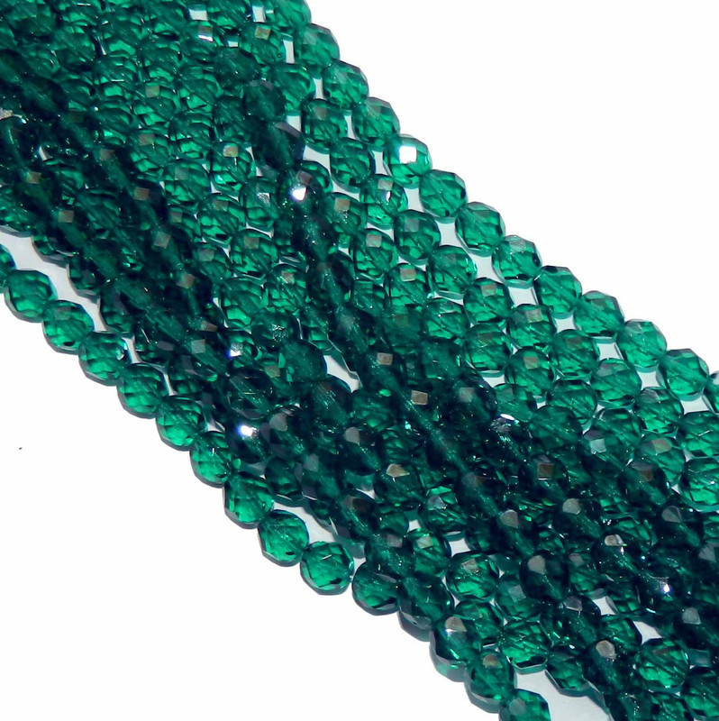 24 Firepolish Faceted Czech Glass Beads 6mm Emerald