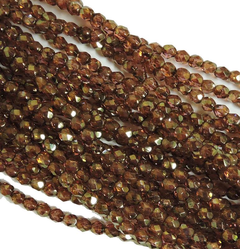 48 Firepolish Faceted Czech Glass Beads  4mm  Luster Rose/Gold Topaz S1-04-65491