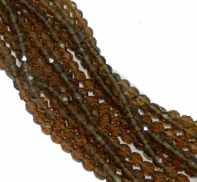 48 Firepolish Faceted Czech Glass Beads  4mm Smoky Topaz