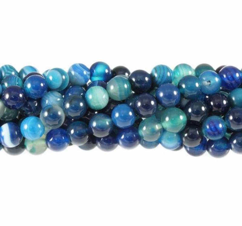 "6mm Blue Striped Agate  Round Beads 40cm 15""  Gem Stone"
