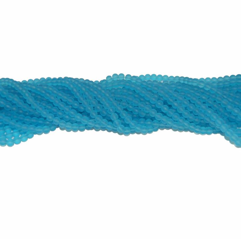 "6mm Frosted Aqua Quarts Manmade Gemstone beads Round Beads 15"" Loose Strand"