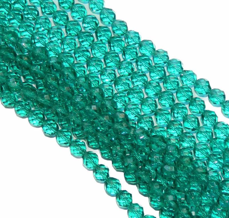 24 Firepolish Faceted Czech Glass Beads 6mm Lt Teal
