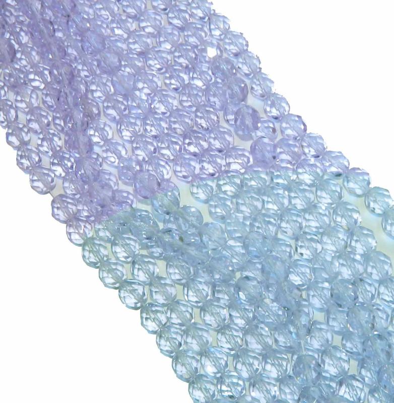 48 Firepolish Faceted Czech Glass Beads 4mm Alexandrite