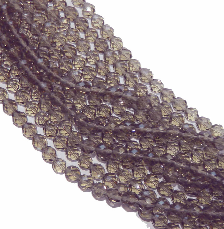 24 Firepolish Faceted Czech Glass Beads 6mm Black Diamond