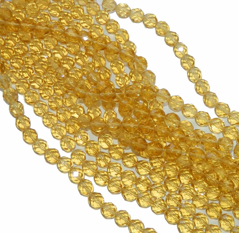 24 Firepolish Faceted Czech Glass Beads  6mm Light Topaz