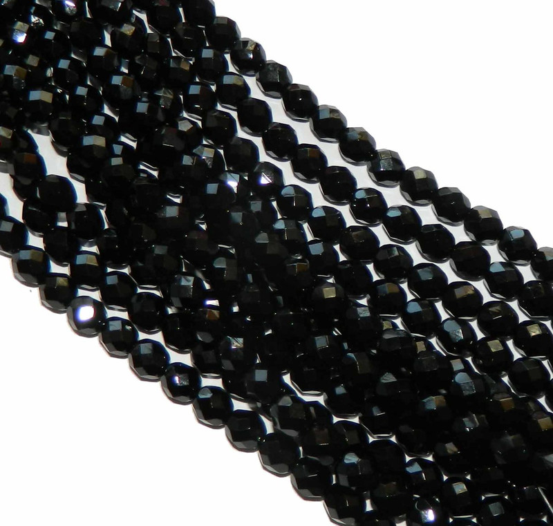 48 Firepolish Faceted Czech Glass Beads 4mm Jet