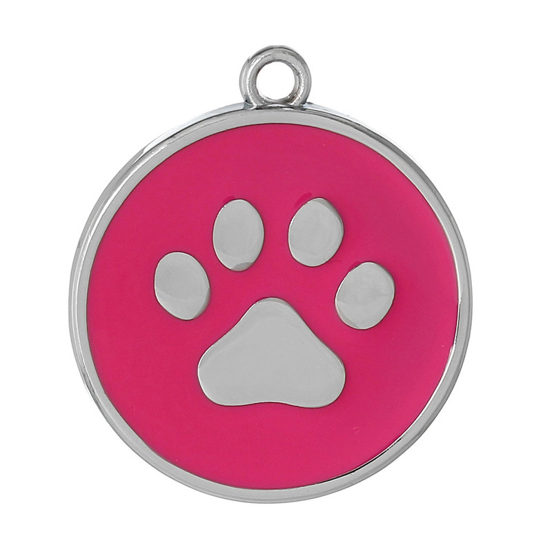 10 Dark Pink Paw Pendants 30mm Round with 2.5mm Hole RB60621