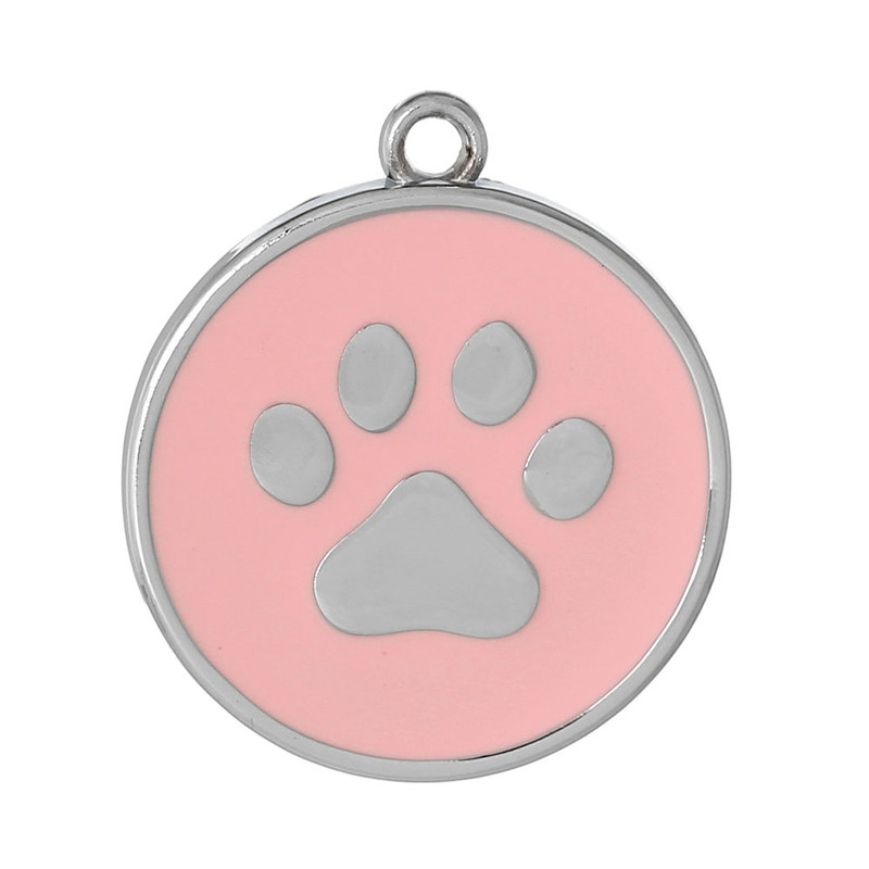 10 Pink Paw Pendants 30mm Round with 2.5mm Hole RB60623