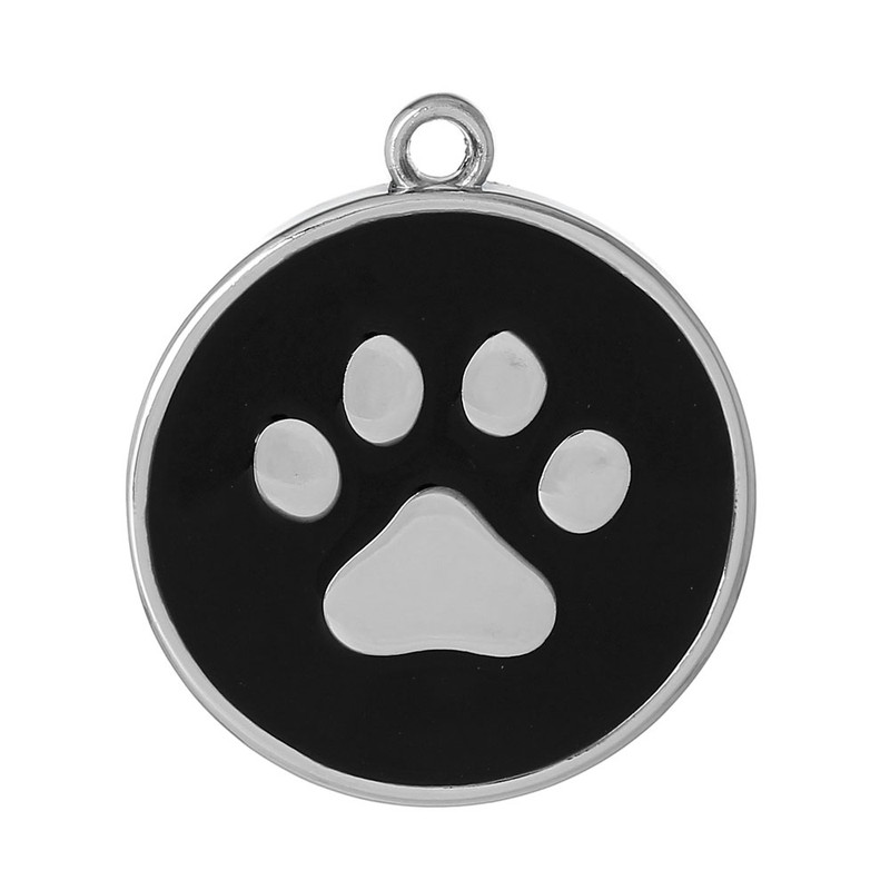 10 Black Paw Pendants 30mm Round with 2.5mm Hole RB60625