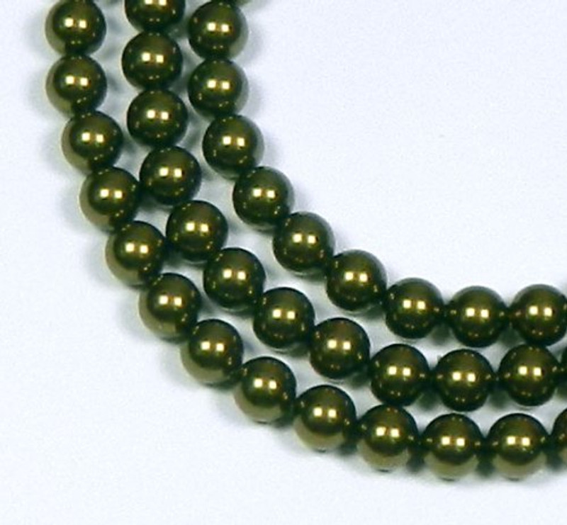 "100 Swarovski Crystal Pearls 4mm Round Beads 5810. 16"" Loose Strand Dark Green 581004GRNDK"