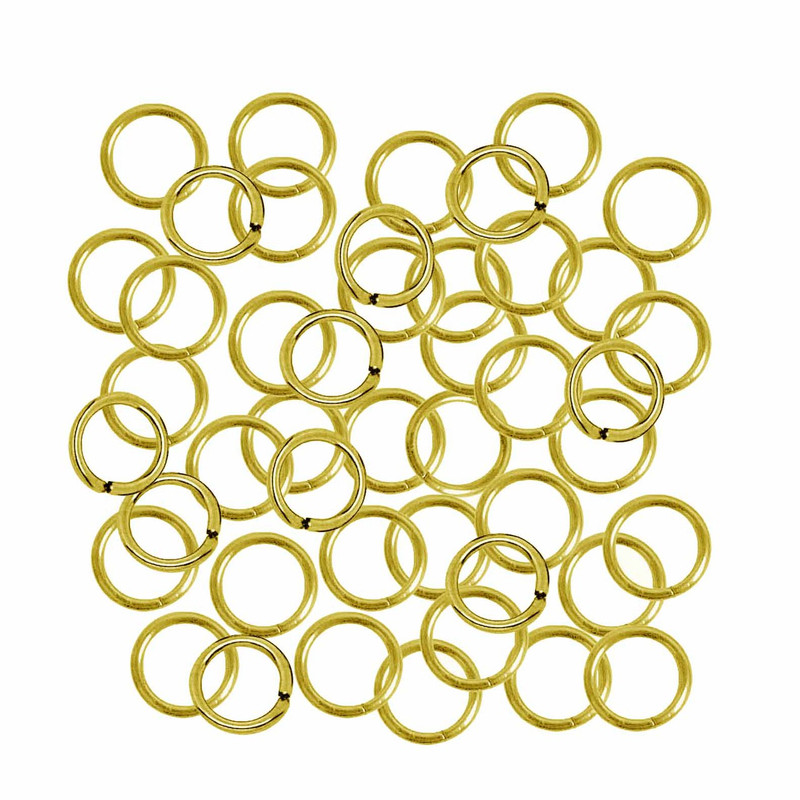 100 Jump Rings , Gold-plated, 9mm Round,  18 Gauge Open  Sold Per Pkg of 100