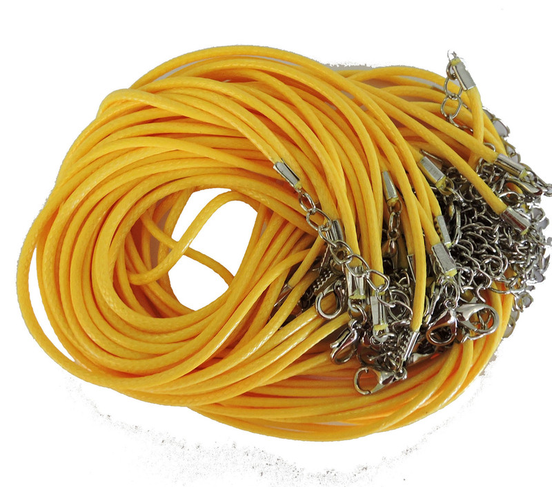 "18 Imitation Leather Cord Necklaces Yellow 18"" Lobster Claw Clasp"