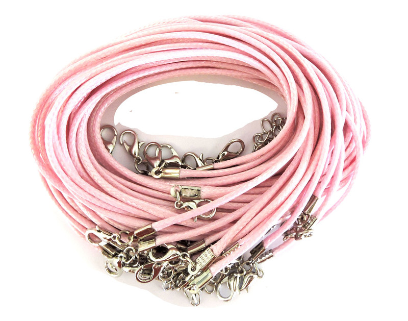 "18 Imitation Leather Cord Necklaces Light Pink 18"" Lobster Claw Clasp"