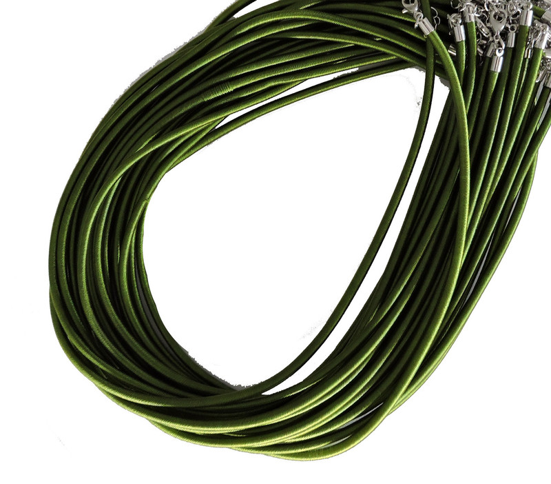 "19 4mm Satin Cord Necklaces 19"" Green Lobster Claw Clasp"